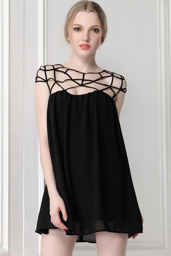 Black Cut Out Mini Dress - OASAP.com
