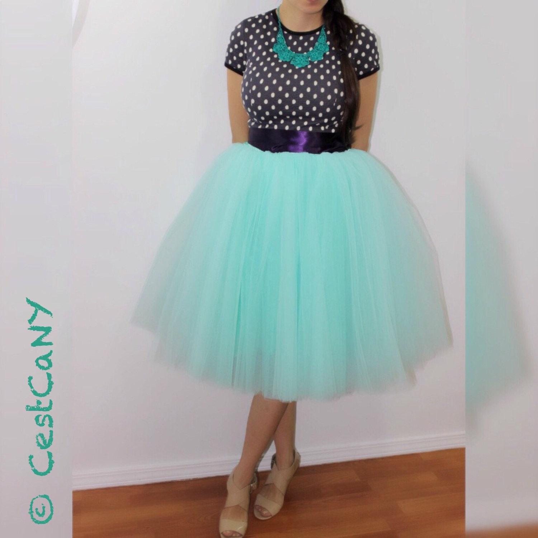 837bfa75c8 Ciara Mint Green Tulle Skirt, 6-Layers Puffy Tutu, Green Swiss Tulle  Princess Tutu, ...