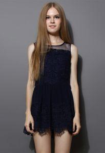 Navy Sleeveless Sleeveless Crochet Insert Mesh Pleated Dress