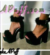 shoes,faux fur,platform heels,black heels