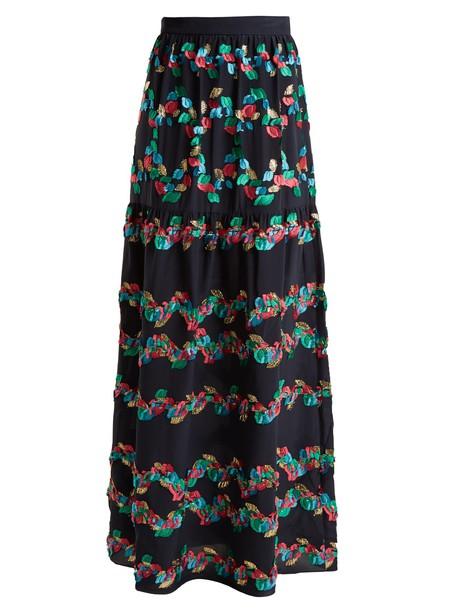 skirt silk navy