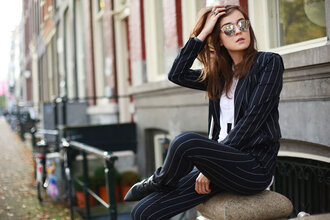 sunglasses striped blazer dior so real dior sunglasses mirrored sunglasses silver sunglasses blazer pants striped pants top white top boots black boots style scrapbook blogger fall outfits