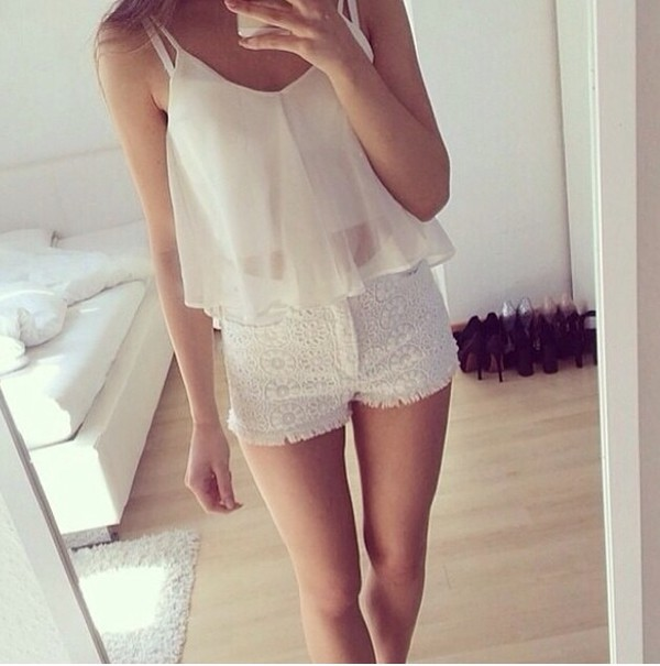 lace shorts shorts