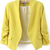 Yellow Collarless Ruched Sleeve Crop Back Blazer - Sheinside.com