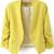 Yellow Collarless Ruched Sleeve Crop Back Blazer - Sheinside.com