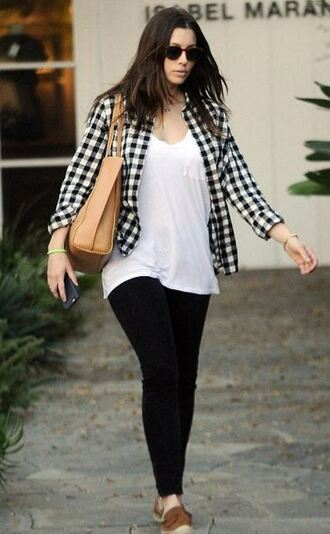 shirt leggings jessica biel fall outfits plaid shirt shoes