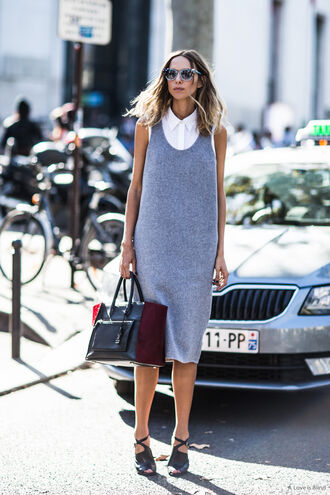 dress knitted dress midi knit dress midi summer knit dress midi dress grey dress shirt white shirt sleeveless sandals black sandals black high heels bag black bag summer outfits streetstyle sunglasses blue sunglasses