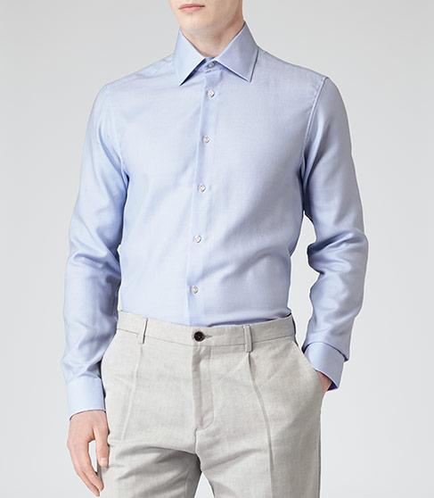 Marshall Blue Textured Cotton Shirt - REISS