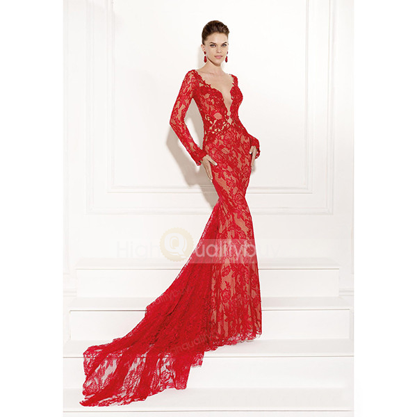 Out back trumpet / mermaid court train lace evening dress