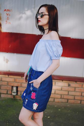 skirt embroidered denim skirt mini skirt denim skirt blue skirt embroidered embroidered skirt top blue top off the shoulder top blue off shoulder top sunglasses summer top summer outfits