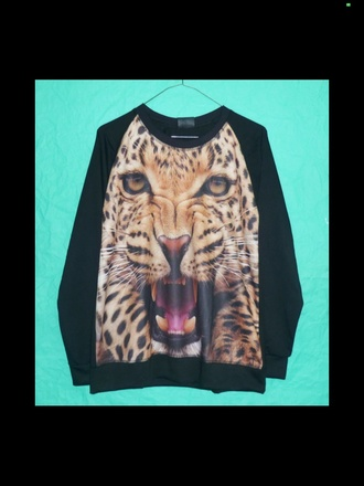 jacket jumper tiger yellow orange jumper jacket raw lion long sleave animal face print