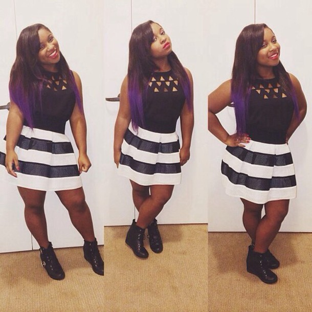 Dress: reginae carter, black, white, skirt - Wheretoget