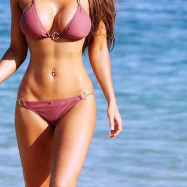 swimwear bikini top bikini bottoms bikini bikini/underwear bikini red pink salmon sexy beach swimwear