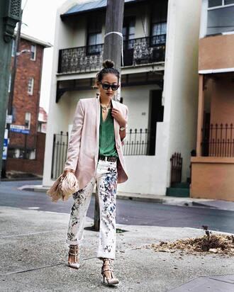pants tumblr printed pants shirt green top blazer pink blazer pumps nude heels heels necklace sunglasses black sunglasses
