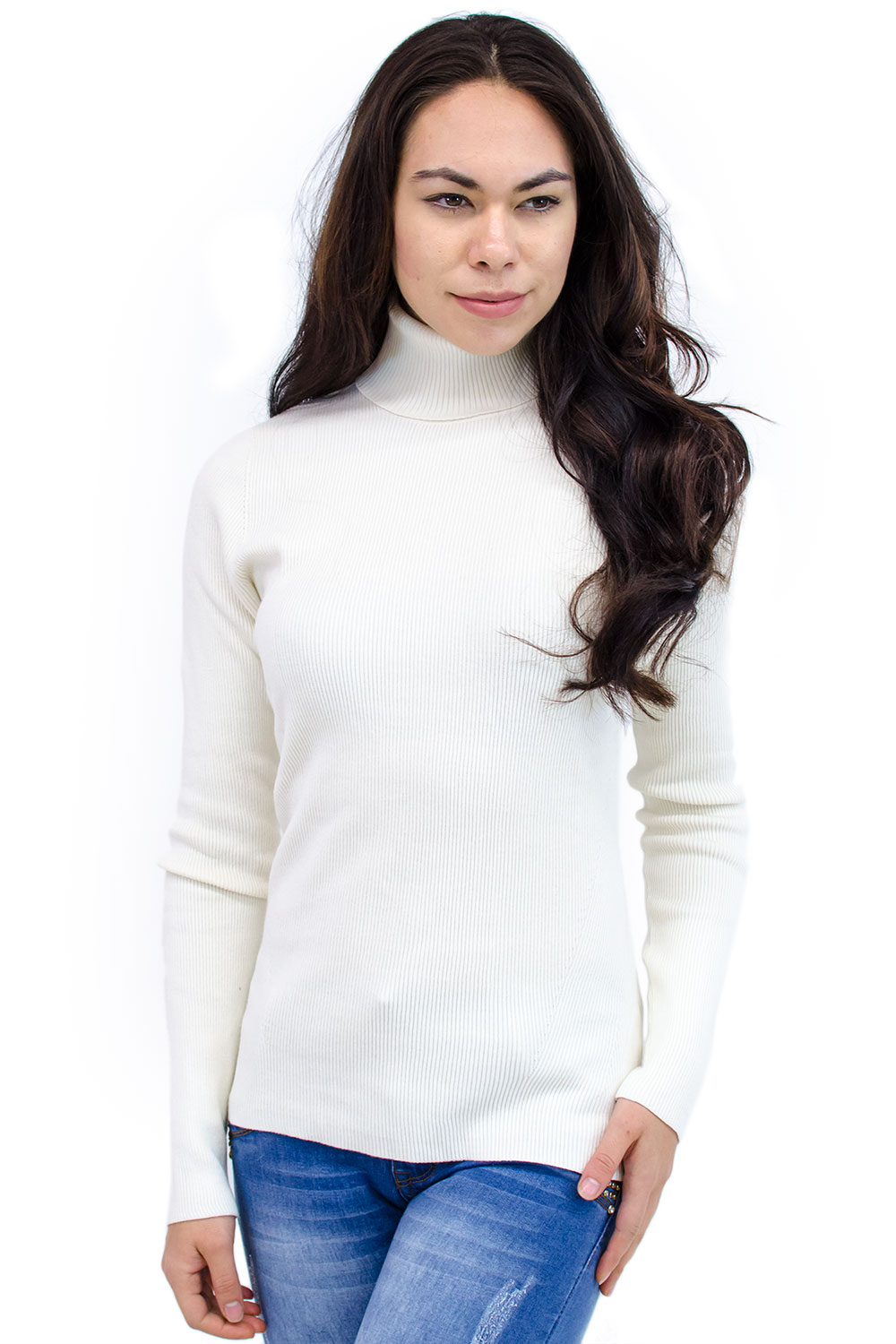 Long Sleeve Turtleneck Ribbed Sweater