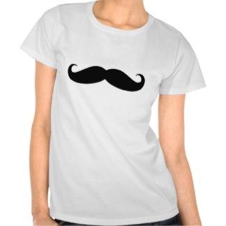 Women's Mustache Printed Short Sleeve Shirts, Women's Short Sleeve Clothes, Clothing & Tops