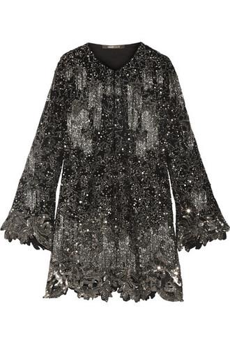 dress mini dress mini embellished black silk