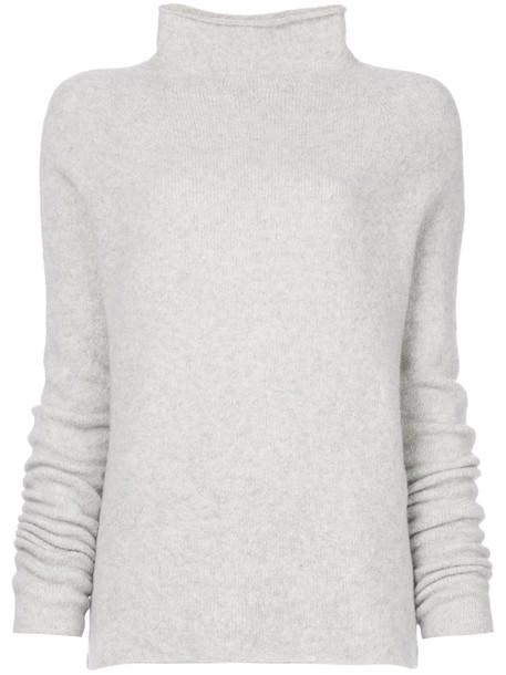 Majestic Filatures sweater women spandex wool grey
