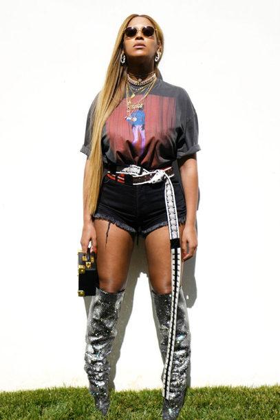 top shorts boots metallic beyonce instagram belt