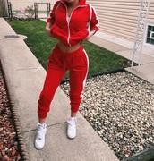 jacket,pants,jumpsuit,red sweatpants,tracksuit top,tracksuit,red,striped top,stripes,zipped hoody,leggings,joggers pants,red jacket,forever 21