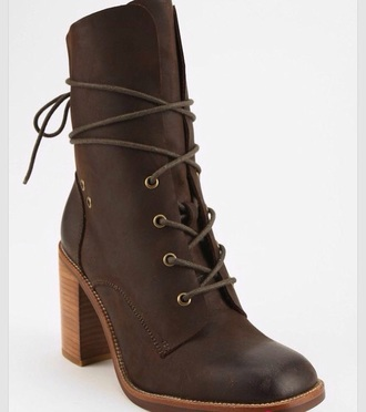shoes jeffrey campbell heeled boot leather brown laces cute boho festival