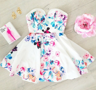 dress mini dress white print sleeveless dress strapless feminine beautiful colorful flowers slim waist bustier dress