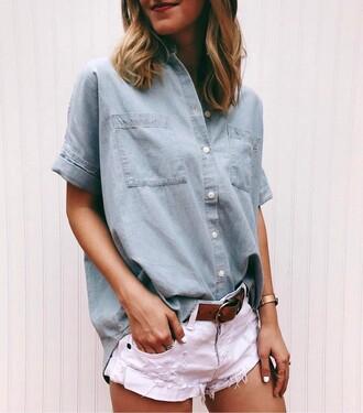 shirt tumblr denim denim shirt shorts white shorts belt