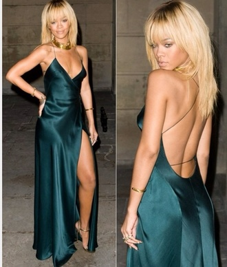 dress rihanna green dress long silk dress silk satin slit black dress backless dress