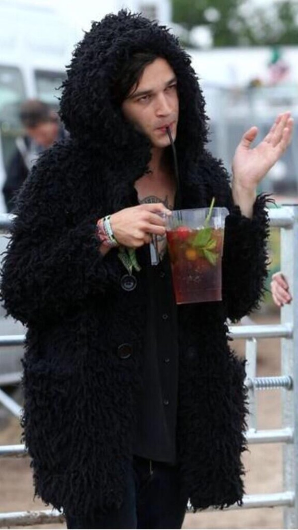matty healy jacket faux fur black jacket faux fur jacket fuzzy coat coat matt healy