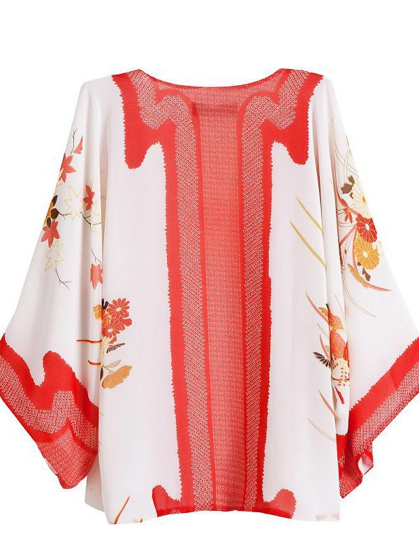 blouse red kimono top kimono style women's
