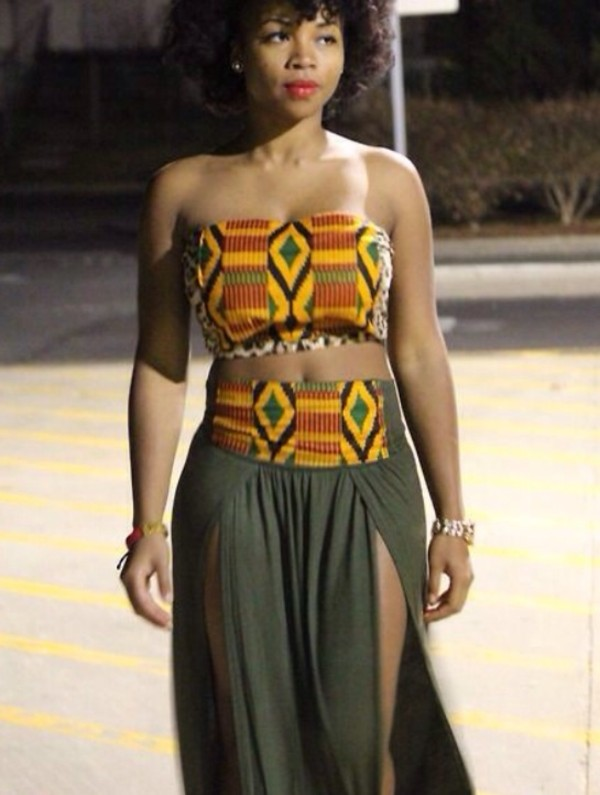 blouse african print top and skirt set