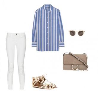 helena bordon blogger sunglasses striped shirt white jeans flat sandals