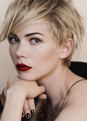 nail polish,red lipstick,michelle williams,ysl,dress,make-up,face makeup