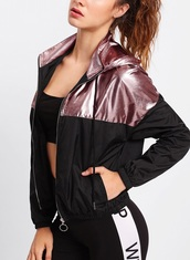 jacket,girly,girl,girly wishlist,black,rose gold,pink,windbreaker,zip,zip-up,hooded jacket