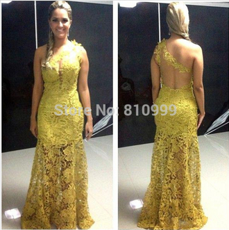 one shoulder prom dress formal dress party dress sexy evening dresses lace dress yellow dress mermaid evening dress sexy prom dresses woman dress ball dress formal
