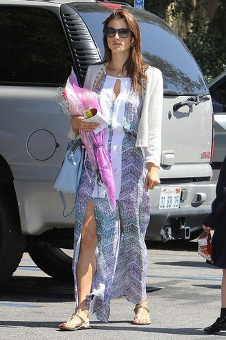 shoes sandals alessandra ambrosio summer dress maxi dress cardigan dress