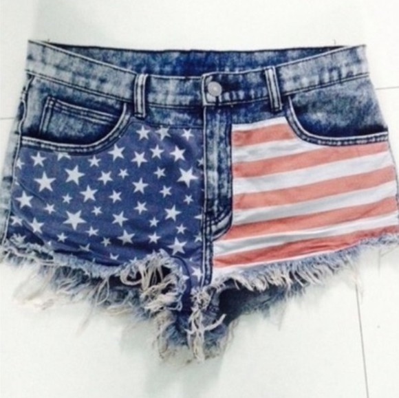 jeans shorts usa flag cut off shorts