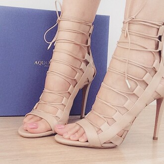 shoes lace up heels nude heels