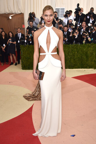 dress metgala2016 white white dress karlie kloss red carpet dress cut-out dress gown prom dress long prom dress shoes met gala