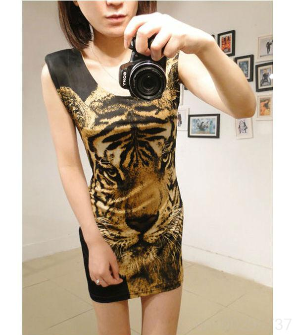 WOMEN TIGER HEAD CREW NECK SLIM GAUZE STITCHING VEST DRESS GWF 60294-in Dresses from Apparel & Accessories on Aliexpress.com