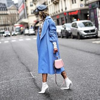 coat blue coat oversized coat oversized hat boots white boots bag ankle boots high heels boots handbag