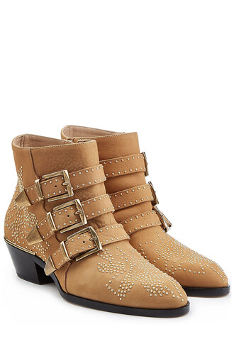 studded boots ankle boots camel shoes