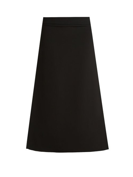 Raey - Split Side Crepe A Line Midi Skirt - Womens - Black