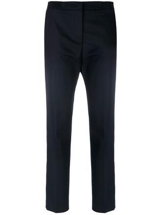 cropped women spandex blue wool pants