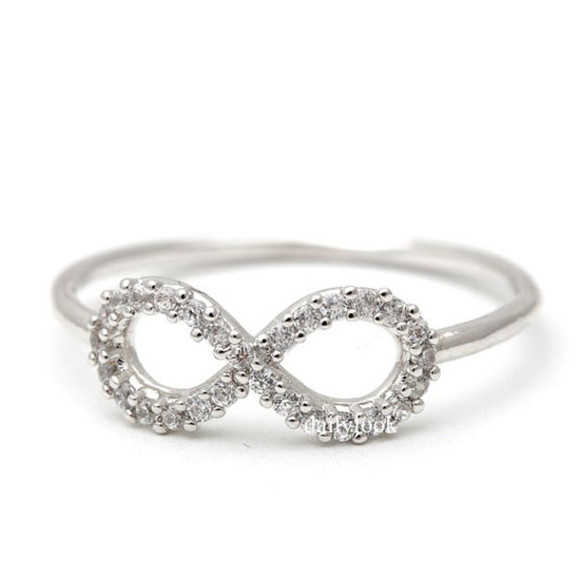 jewels ring infinity ring infinite ring wedding ring silver infinity ring eternity band promise ring bridemaid ring crystal infinity ring infinity crystal ring