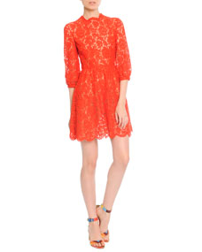 Valentino 3/4-Puff-Sleeve Lace Dress