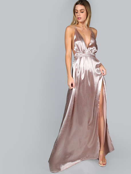 V Neck Satin Dress