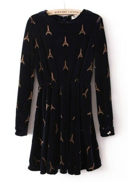 paris black long sleeve dress hipster