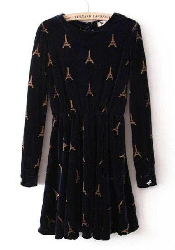 long sleeve dress paris black hipster