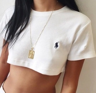 shirt ralph lauren polo top crop tops white crop tops polo shirt polo crop top
